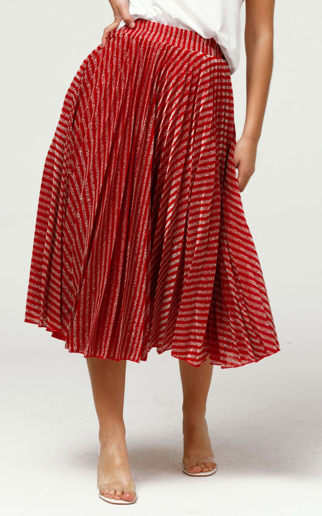 Pleated Midi Skirt in Red & Silver by Free Spirits