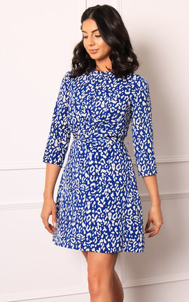 Leopard Print Twist Belted Dress With Skater Skirt In Blue & White by One Nation Clothing Product photo