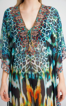 SILK EMBELLISHED KAFTAN IN GREEN/BLUE LEOPARD PRINT by Aftershock London