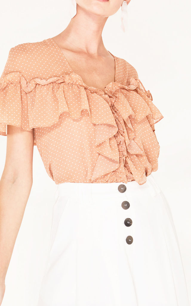 796d12d9a26 V Neck Polka Dot Blouse With Ruffles In Coral And White | Paisie ...