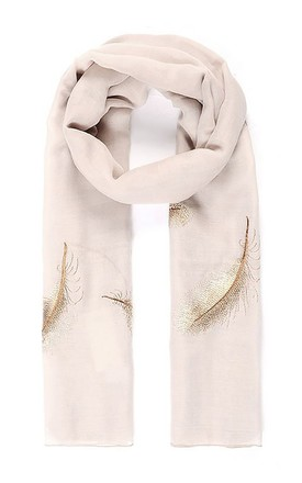 Luxury Golden Feather Embroidered Scarf by Xander Kostroma