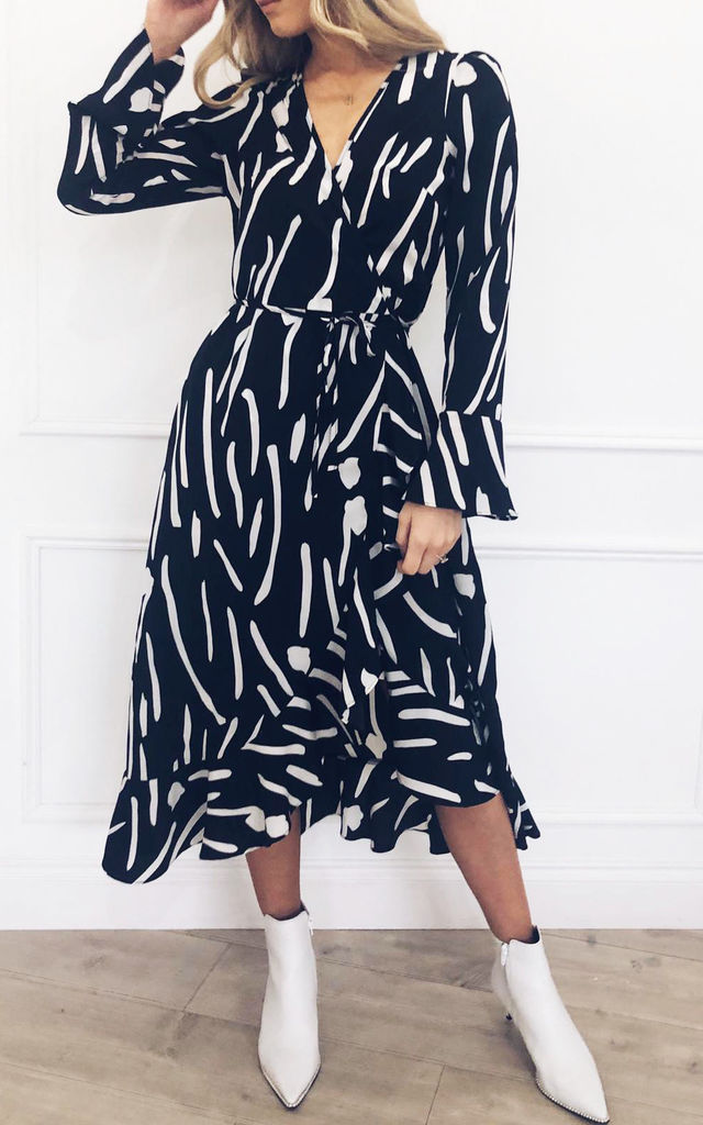 EXCLUSIVE Valery Wrap Midi Dress Monochrome by Pretty Lavish
