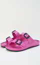 Watson Slider Flat Sandals in Neon Pink by Slydes Footwear