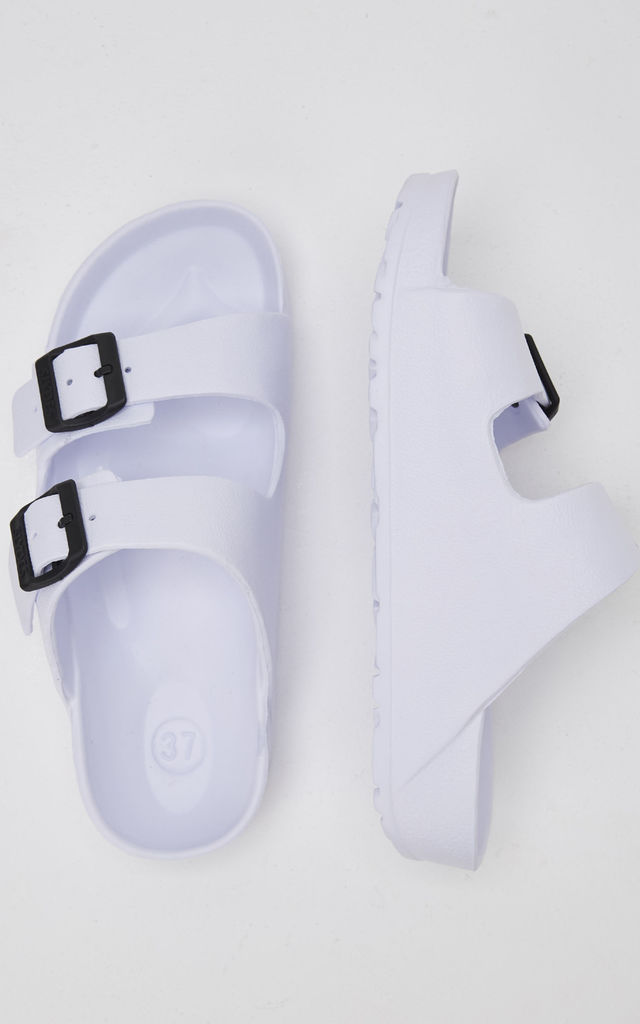 Watson Slider Flat Sandals in White by Slydes Footwear