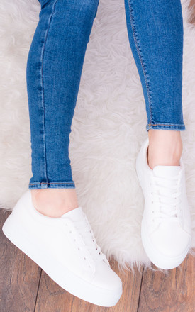 Palermo Lace Up Trainers In White Faux Leather by SpyLoveBuy Product photo