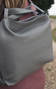Dove Grey Leather Tote Shopper by Grace and Valour