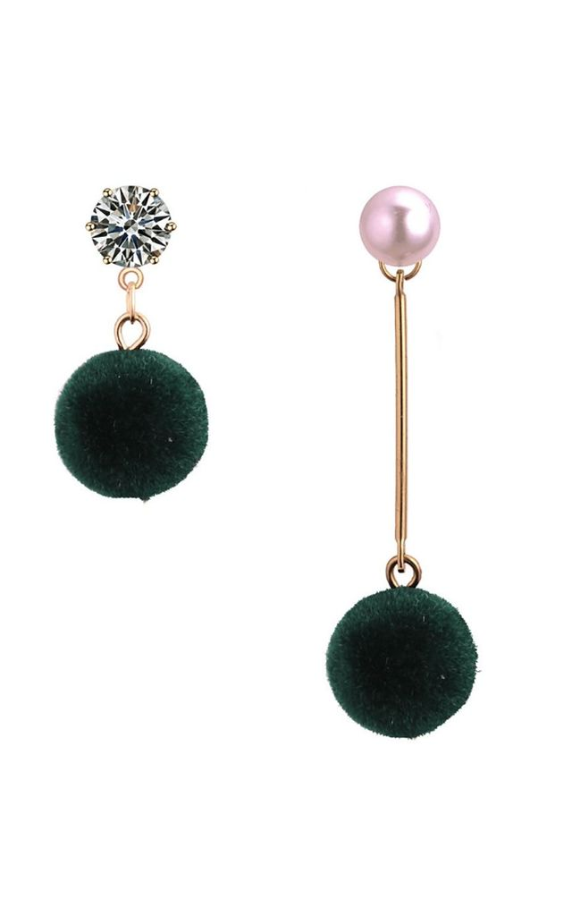 Asymmetric Green Pom Pom & Pearl Earrings by Xander Kostroma