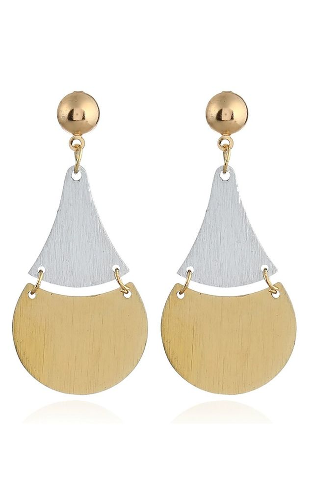 Two Tone Silver Gold Drop Earrings by Xander Kostroma