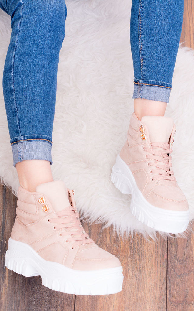 ARAGONA Lace Up Chunky Hi Top Trainers Shoes - Pink Suede Style by SpyLoveBuy