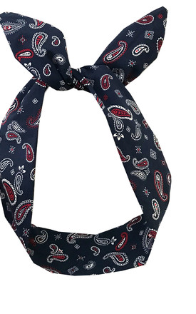 Navy Blue Paisley Print Wired Headband by LULU IN THE SKY