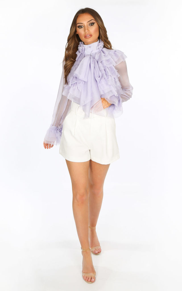 Belted Tailored Shorts In White by Dressed In Lucy