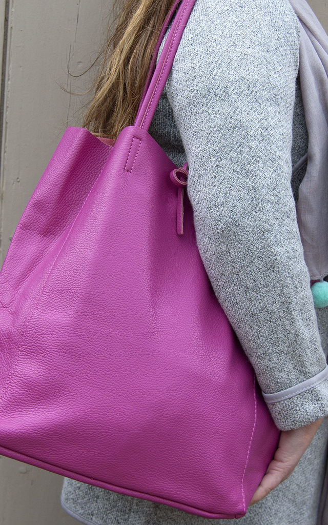 Cerise Leather Tote Shopper by Grace and Valour
