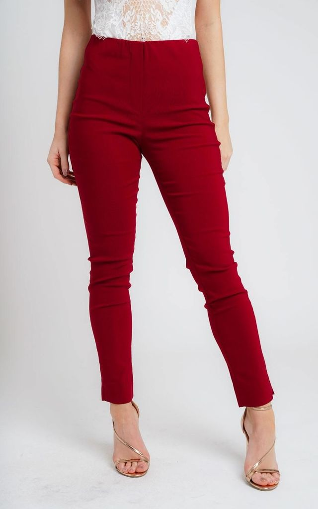 DARK RED PULL ON SKINNY FIT STRETCH TROUSERS by Lady Love London