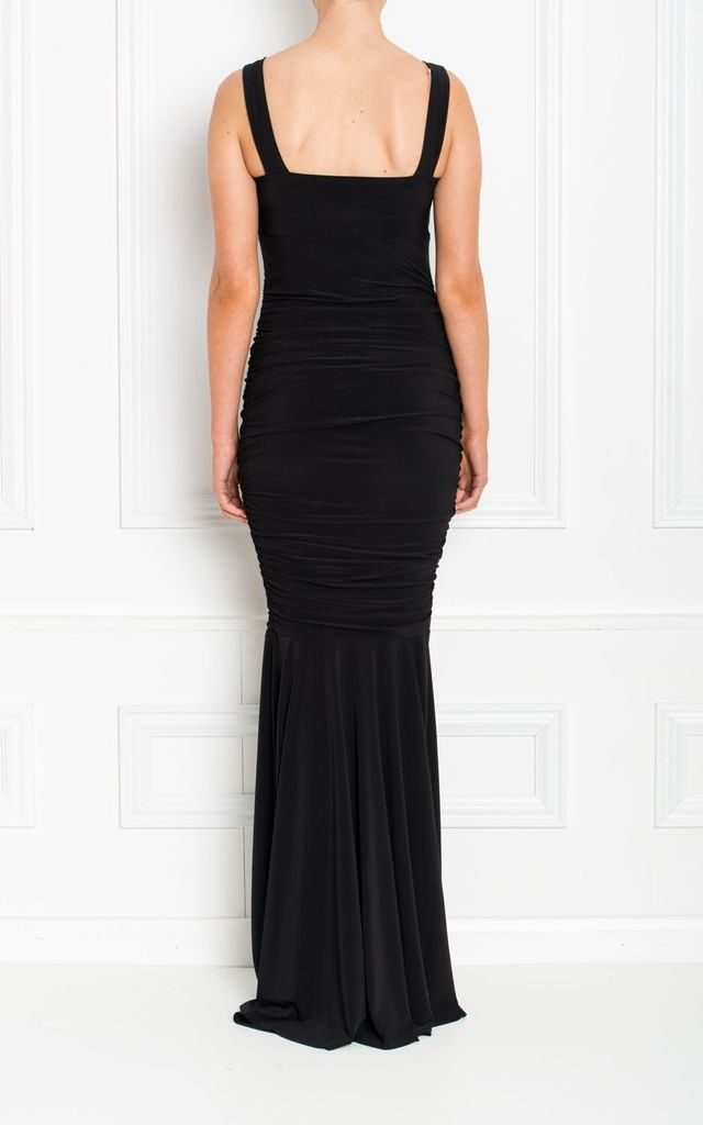 Gabby Body Con Black Fishtail Maxi Dress With Fishtail by Honor Gold