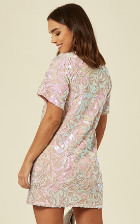 Pink Velevet T Shirt Dress With Iridescent Sequin by FLOUNCE LONDON