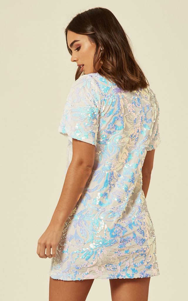 WHITE VELVET TSHIRT DRESS WITH IRIDESCENT SEQUIN by FLOUNCE LONDON