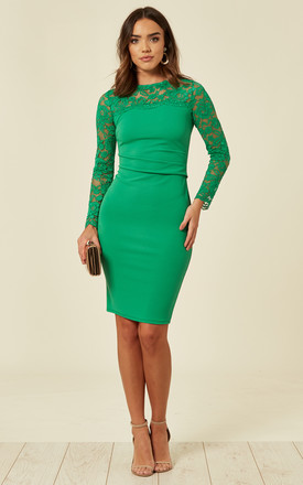 Long Sleeve Lace Scallop Dress in Green by FLOUNCE LONDON