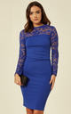 Long Sleeve Lace Scallop Dress in Blue by FLOUNCE LONDON
