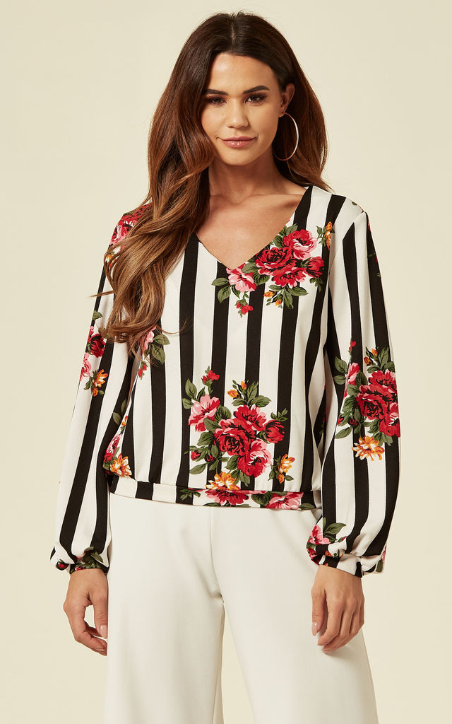 White/Black Floral Striped Blouse by Oeuvre