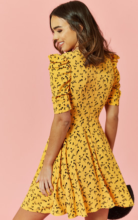 Mini Dress with plunge neck in Yellow Ditsy Print by Glamorous