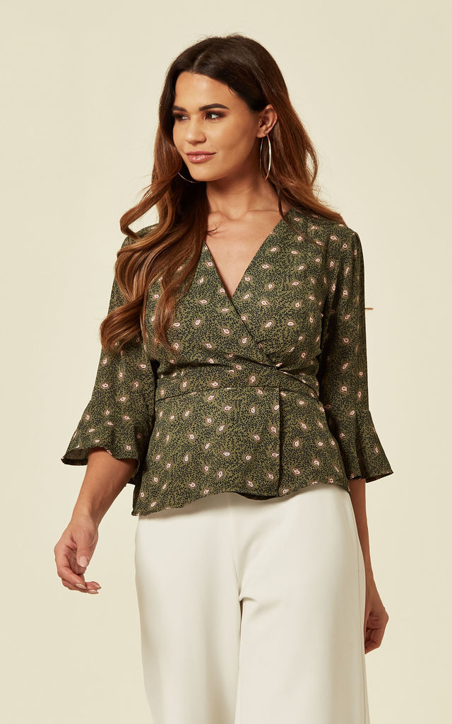 Green Ditsy Print Wrap Over Blouse by Oeuvre
