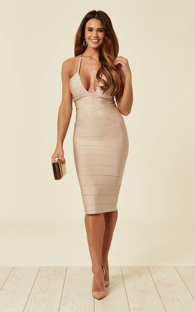 1fba9bbb Rosie Nude Bandage Bodycon Midi Dress | My Bandage Dress | SilkFred