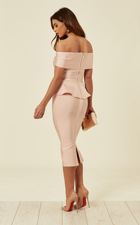 POLLY PINK CO-ORD with Bardot top and bodycon midi skirt by My Bandage Dress