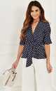 Navy Polka Dot Kimono Knot Top by Lilah Rose