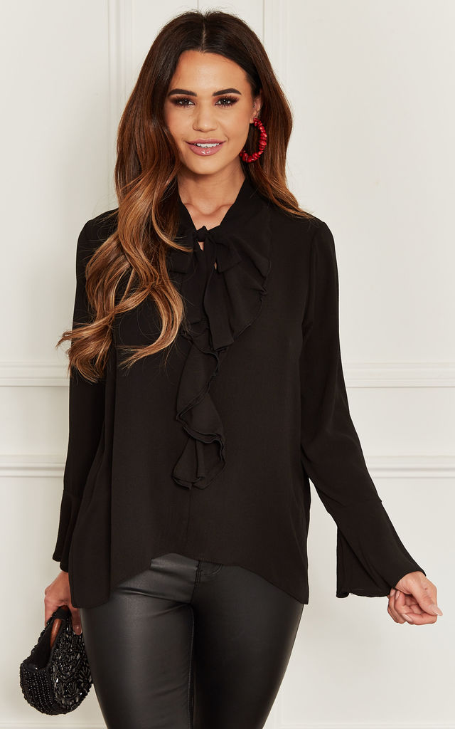 Frill Front Blouse in Black by John Zack