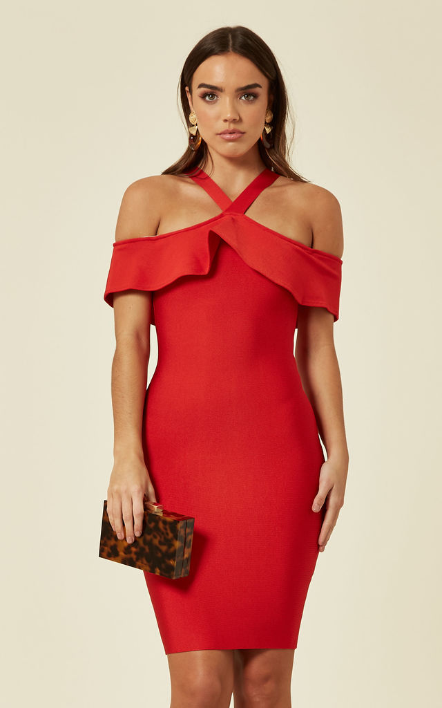SIENNA Red bodycon frill dress by My Bandage Dress