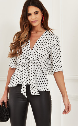 Ivory Polka Dot Kimono Knot Top by Bella and Blue Product photo