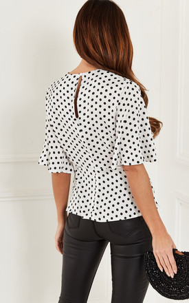 Ivory Polka Dot Kimono Knot Top by Bella and Blue