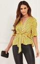 Yellow Polka Dot Kimono Knot Top by Lilah Rose