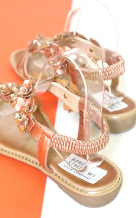 Champagne flower sandals by Bond Street Shoe Company