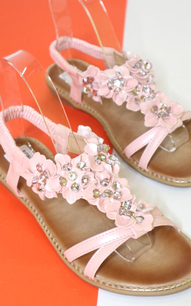 Pink flower sandals by Bond Street Shoe Company