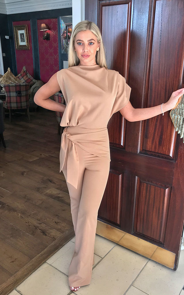 Nude Callie Asymmetric Tailored Jumpsuit by Rag & Doll