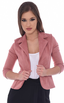 René Tailored Fit Suedette Blazer in Pink by Modamore