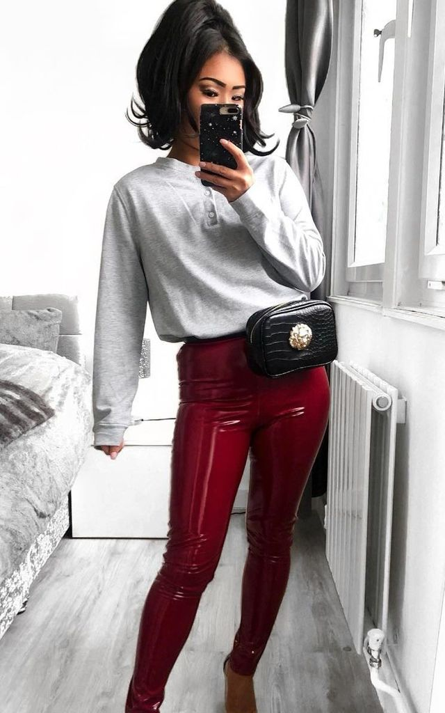 9ecb82c7eaef8 Nahara Wet Look Shiny Vinyl PU Leggings in Burgundy Wine Red by Modamore
