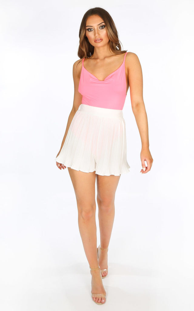 Pleated Shorts in white by Dressed In Lucy