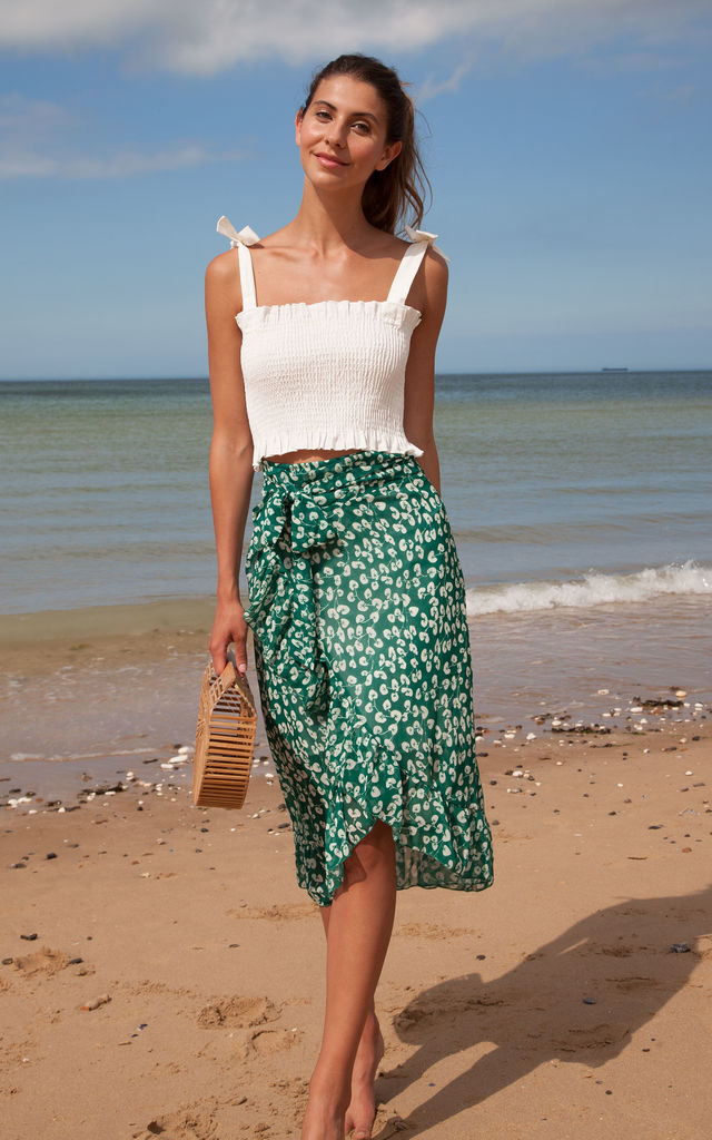 Green Floral Frill Wrap Midi Skirt by Styled In London