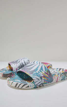 Cyber Light Slider Flat Sandals in Tropical Print by Slydes Footwear