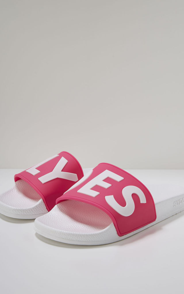Deflect Slider Flat Sandals with Logo in White & Neon Pink by Slydes Footwear