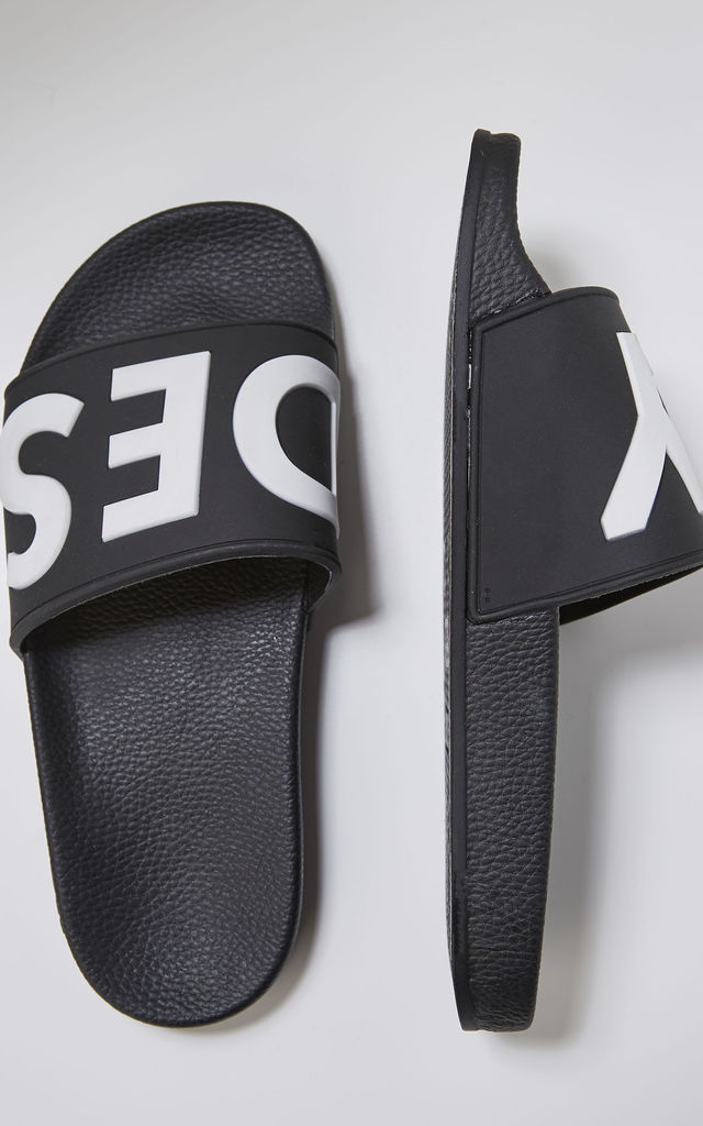 Deflect Slider Flat Sandals with Logo in Black by Slydes Footwear