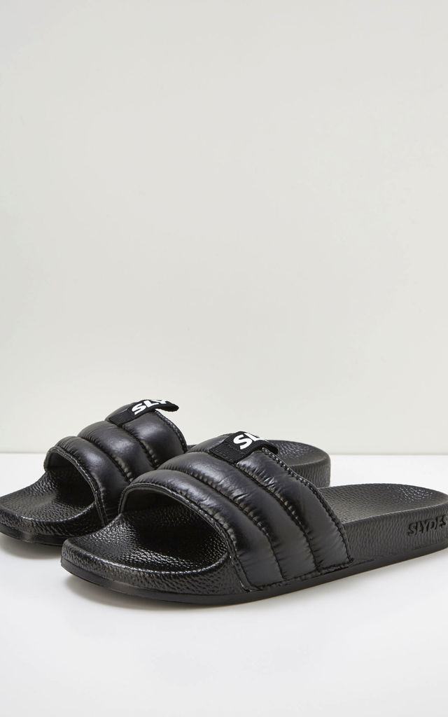 Mode Slider Flat Sandals in Black by Slydes Footwear