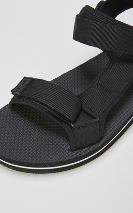 Nevis Slider Flat Sandals in Black & White by Slydes Footwear