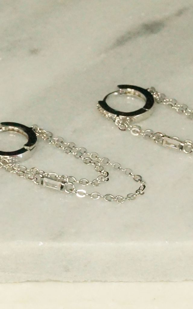 PLATINUM PLATED CZ DROP WITH LOOPED CHAIN HUGGIE HOOP EARRING by EPITOME JEWELLERY