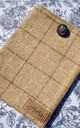 Wool iPad case in Slate and Oatmeal Brown Check Print by Hettie