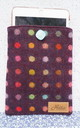 Wool iPad Case in Wine and Multicolour Polka Dot by Hettie