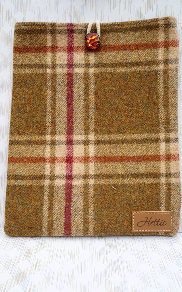 Wool iPad Case in Arncliffe Moonstone Check Print by Hettie