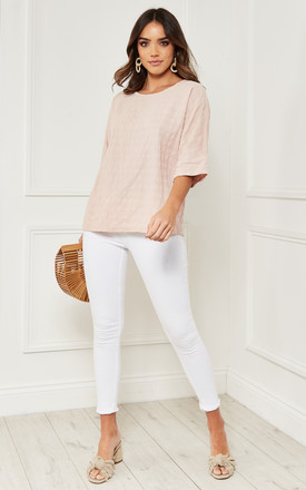 Cotton Oversized Textured Top In Pink by Bella and Blue Product photo